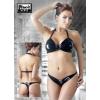 Nyakpántos, fűzős, lakk bikini (fekete) (M)