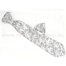 Krawat Hosszított francia nyakkendõ - Ezüst-fekete mintás