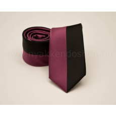 Rossini Prémium slim nyakkendõ - Pink-fekete csíkos