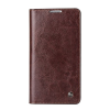 QIALINO Classic Samsung Galaxy Note 3 oldalra nyíló eredeti bőr flip tok, barna