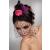 Lívia Corsetti Sötét pink mini kalap hajdísz fekete fátyollal, tolldísszel, szatén rózsával