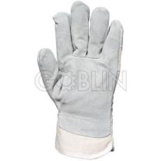Euro Protection Védõkesztyû szürke marhahasíték tenyérbéléssel, fehér vászon kézháttal, 12 pár