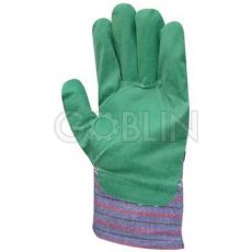 Euro Protection Zöld PVC-pamut kertészeti, jó vízállóságú kesztyû vászon kézháttal, 12 pár