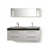 Beliani Fehér fürdoszoba bútor + két mosdó + tükör - Fürdoszoba szekrény - MALAGA