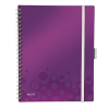 Leitz Notebook: with 3 \Be mobile\ bookmarks Leitz WOW A4  graph paper  violet 4002432108534