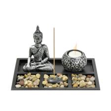 Buddha mécsestartó és füstölő szett fekete füstölő