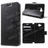CRAZY notesz tok / flip tok - FEKETE - asztali tartó funkciós, oldalra nyíló, rejtett mágneses záródás, bankkártya tartó zseb - HUAWEI Enjoy 5
