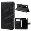 Notesz tok / flip tok - FEKETE - asztali tartó funkciós, oldalra nyíló, rejtett mágneses záródás, bankkártyatartó zseb - OnePlus X