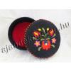 Díszdoboz hímzett Matyó virág motívummal 13 cm fekete