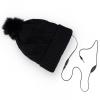 Univerzális kötött sapka, vezetékes sztereó fülhallgatóval, bolyhos, gyémánt mintás, fekete