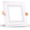 Üveg keretes LED panel (négyzet) - 12 Watt - meleg fényű
