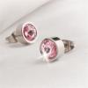 . Fülbevaló, fém foglalatos , silver 8 mmCrystals from SWAROVSKI? rózsaszín kristályos