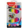 """MAPED Színes ceruza készlet, háromszögletű, fém doboz, MAPED """"Color\´Peps"""", 12 különböző szín"""
