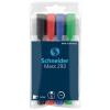 """SCHNEIDER Tábla- és flipchart marker készlet, 2-5 mm, vágott, SCHNEIDER """"Maxx 293"""", 4 különböző szín"""