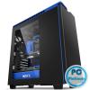 "NZXT H440 Window Mid Tower Black/Blue Black/Blue,11x3,5"",8x2,5"",ATX,2xUSB2.0,2xUSB3.0,Audio,Táp nélkül,220x513x480mm,Ventillátor:3x12cm, 1x14cm,Window"
