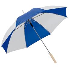 Kétszínû automata esernyõ, kék/fehér (Kétszínû automata esernyõ, egyenes fa fogantyúval, fém csúccsal.)