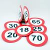 Évszámos sebességkorlátozó tábla, kétoldalas 10 cm  (35-ös)