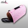Kutyatáska, kutyaszállító, zárt rózsaszín mintás 33x18x22cm