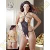 Mandy Mystery lingerie Nyitott strasszos szexbody - S-L méret - fekete