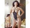 Mandy Mystery lingerie Nyitott strasszos szexbody - S-L méret - fekete body