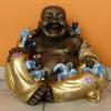 Buddha-kínai-Boldog-gyerekekkel/bronz-arany-kék