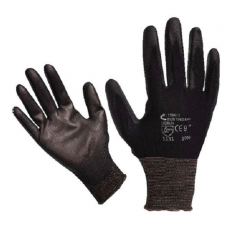MUNKAVEDELEM Kötött kesztyű fekete nylon, BUNTING BLACK XL-es méret, 10' poliuretánba mártott teny. és ujjhegy., gumírozott mandzse