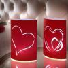 Szív Alakú, LED-es Papír Lámpák (2 db / csomag)
