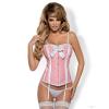 Obsessive Dottie 2 részes púder rózsaszín, pöttyös erotikus fűző szett S/M