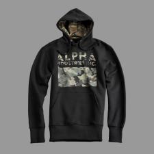 Alpha Industries Camouflage Print Hoody - fekete férfi pulóver, kardigán
