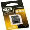 Goodram Memóriakártya, microSDXC, 64GB, Class 10 USH-I, adapterrel, GOODRAM