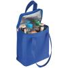 Non-wowen anyagú hűtőtáska, kék (Non-wowen anyagú hűtőtáska vállpánttal. Méret: 19 X  9 X 23cm.)