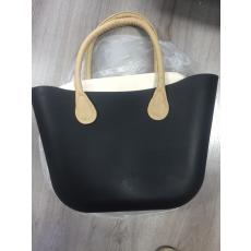 MyBag női szilikon táska fekete színű, bézs fül