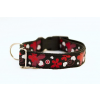 Sokdog fekete, piros virágmintás nyakörv M