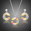 Fehérarannyal bevont pink-sárga-fehér olajfestéses ékszerszett ausztriai kristályokkal + AJÁNDÉK DÍSZDOBOZ (0602.)