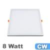Keret nélküli LED panel (szögletes) 8 Watt - hideg fehér