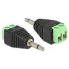 DELOCK Jack 3,5mm -> Terminal block 2pin M/F adapter fekete
