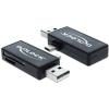 DELOCK USB 2.0 SD/MicroSD kártyaolvasó fekete OTG