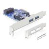 DELOCK PCI-E x1 - 2 portos USB3.0 '+ 1x 19 pin USB 3.0 IO vezérlő