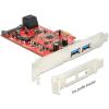 DELOCK PCI-E x1 - 2 portos SATA3 USB3.0 IO vezérlő