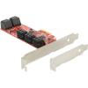 DELOCK PCI-E x1 - 10 portos SATA3 Low profile IO vezérlő
