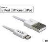 DELOCK USB A -> Lightning M/M adatkábel 1m fehér