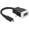 DELOCK HDMI micro D -> VGA Jack stereo 3,5mm M/F adapter 0.15m fekete