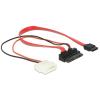 DELOCK Cable Micro SATA male angled > SATA 7 pin + 2 pin Power 5 V 30 cm