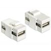 DELOCK USB A F/F Keystone modul fehér