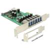 DELOCK PCI-E x1 - 6-1 portos USB3.0 IO vezérlő