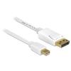 DELOCK Displayport mini -> Displayport M/M video jelkábel 5m fehér