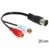 DELOCK DIN -> 2db RCA M/F audio kábel 0.2m fekete