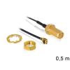DELOCK SMA -> MHF/U.FL M/F antenna kábel 0.5m U.FL-LP-088 fekete