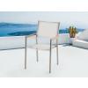 Beliani Kerti szék - rozsdamentes acél - fa - textil - fehér - GROSSETO