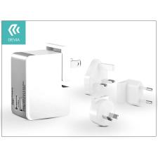Univerzális USB hálózati töltő adapter 2 x USB - 5V/2,5A - Devia Universal Power Travel Kit - white/grey tok és táska